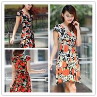 2013 Women's Free Shipping Maxi  Size Chrysanthemum Flowers Printed V-neck Dress  SizeL/XL/2XL/3XLBJ13042412