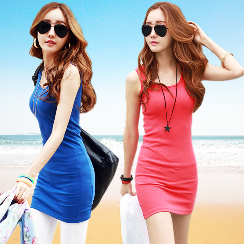 SALE AT LOST JUST FOR HOT! Free shipping cheapest 2013 summer women's fashion o-neck sleeveless one-piece tank dress many color(China (Mainland))