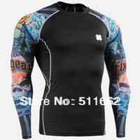 Free shipping polyester+ spandex FIXGEAR Compression base layer training performance skin tight shirt CPD-B74