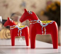 Free shipping Well-crafted Wood Curved Dala Horse Sweden National  symbol perfect novelty Wooden crafts for home decoration