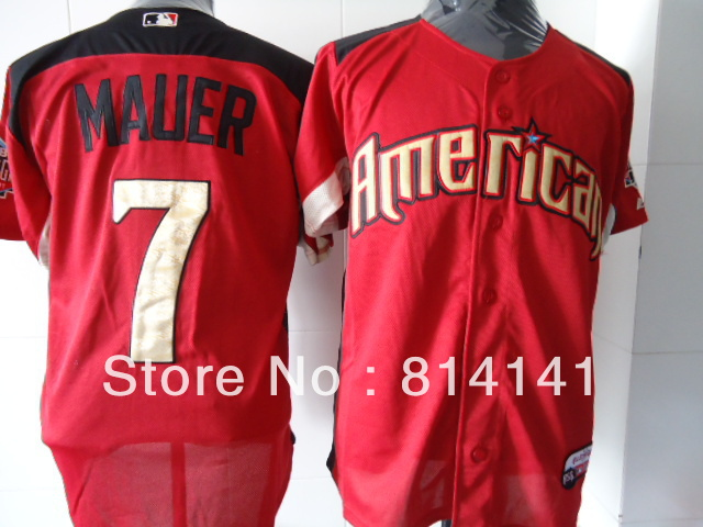 Wholesale-Cheapest 2011 All Star Baseball Jersey Twins Joe Mauer #7 Red Free Shipping Mix Order(China (Mainland))