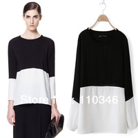 Free Shipping 2013spring new hot Europe&America women elegant blouse t-shirt lady's black&white patchwork tip chiffon t-shirt