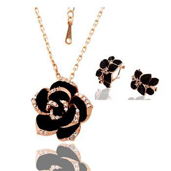 18KGP S041 Freeship,flower party jewelry set,retro style 2-piece set,18k gold,necklace+earrings,Austrian Crystals SWA Element(China (Mainland))
