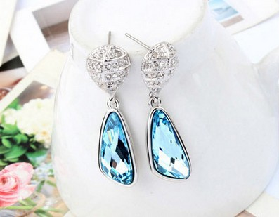 Platinum Plated Austrian Crystal Inlaid Fashion Beautiful Drop Earrings Made With Swarovski Elements Factory Price Free Shipping(China (Mainland))