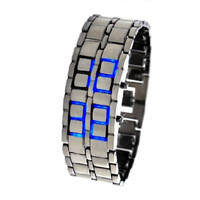 new Fashion womens Blue LED Digital Watch Lava Style girl's sports Watch Free shipping #L05113