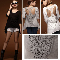 2014 summer new cotton t shirt tops for women half sleeve lace patchwork sexy hollow out fashion design roupas femininas