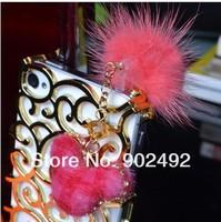 Fashion plush mickey head & Plush Ball Style Earphone Dock Port Anti-dust Plug for 3.5mm cellphone
