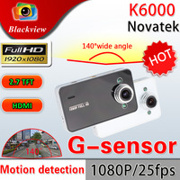 Russia Language K6000 Car DVR HD 1080P Recorder HDMI 25FPS night vision 5MP Camera G-Sensor CMOS Car NOVATEK