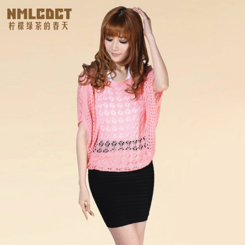 Women's cutout crochet sweater loose shirt plus size(China (Mainland))
