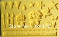 Free shipping Fondant tool Star shape baking mold silicone embossing die sugar Arts flower