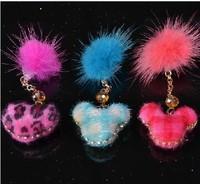 Fashion plush Heart & Plush Ball Style Earphone Dock Port Anti-dust Plug for 3.5mm cellphone