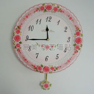 free shipping Quieten rustic relievo lace rose wall clock pendulum clock b young girl(China (Mainland))