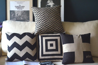 Classic retro black and white cushion cover,minimalist Scandinavian England pillow cover/sofa cushion,4pcs /lot,FreeShipping