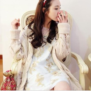 8842 2012 s id l twisted cutout handmade knitted sweater cardigan outerwear(China (Mainland))