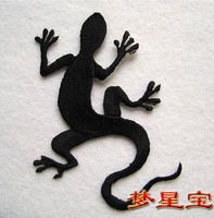 Free Shipping~15 pcs/Lot Embroidered  Black Gecko Sew on Iron On Patch Iron On Sew On Patch Applique Badges
