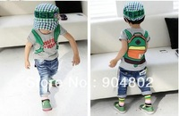 Wholesale hot baby summer Backpack pattern short-sleeved T-shirt fashion boys nd girls favorite Cartoon T-shirt free shopping