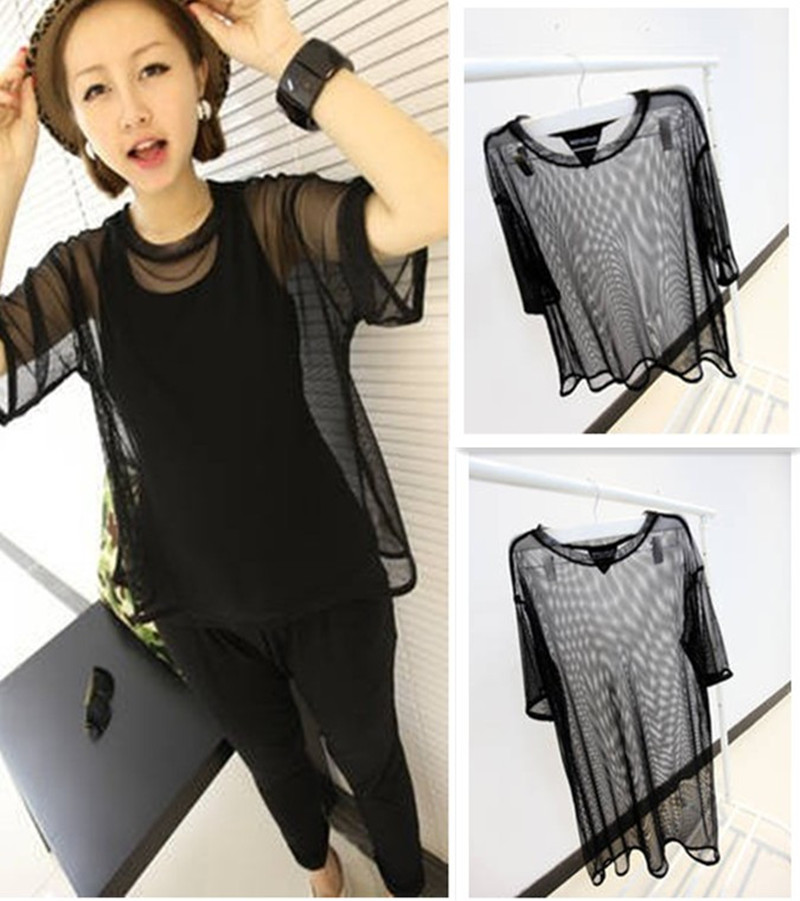 Octopussy hot-selling 2013 product taste of perspective gauze long short 2 loose tee(China (Mainland))