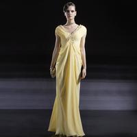 Creative fox yellow evening dress evening dress banquet V-neck evening dress formal dress long design fashion costume 56661