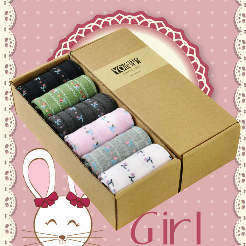 Spring new arrival socks female 100% thin cotton sock gift box set socks(China (Mainland))