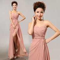 Tube top toast the bride married chiffon formal dress bridesmaid dress evening dress long design bridesmaid dress formal dress
