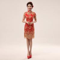 Cheongsam dress fashion cheongsam short design bridal cheongsam toast lace design sexy short cheongsam  free shipping