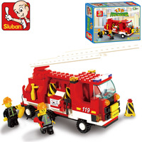 Sluban 175pcs/set DIY Fire Engine With Ladder Rescue Toy For Kids Educational Assembly Blocks Set M38-B3000 No box !