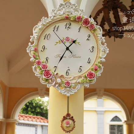 Fashion vintage rustic wall clock mute clock quartz clock and watch rose pocket watch(China (Mainland))