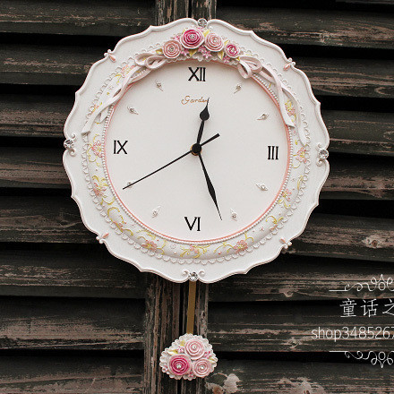 Fashion rose resin diamond rustic wall clock fashion silent watch pendulum clock z9(China (Mainland))