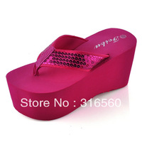 Best Selling!!2013 women sequins flip flops bling wedges sandals platform beach slipper Free Shipping