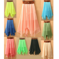 LADY ASYMMETRIC HEM BOWKNOT BELT CHIFFON SKIRT ELASTIC WAIST GWF-6112(China (Mainland))