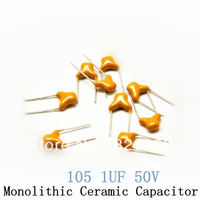 105P 1UF 50V pin-pitch 5.08MM monolithic ceramic capacitor / multi-layer ceramic capacitor / MLCC 50PCS/LOT