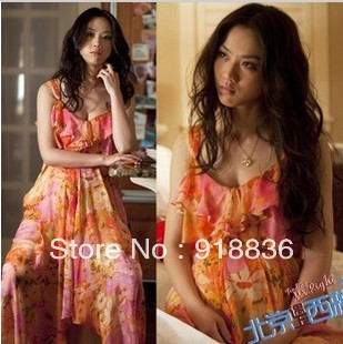 Maternity Beijing fell in love with the money Seattle Tang Wei sweet printed dress Bohemian dress LY2281(China (Mainland))
