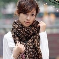 New arrival autumn and winter Women faux leopard print scarf sploshes leopard print tassel cape