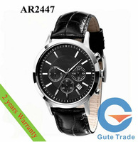 Luxury AR2447 Men's Watch Hardlex Glass Quartz Watches Leather Wristwatch SG/HK Post With Original box