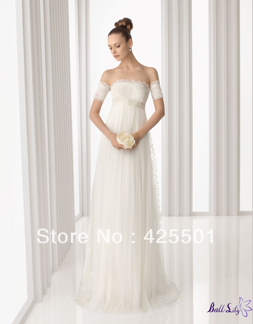 Designer Fashion Brand White Ivory Soft Tulle with Lace Empire A Line Wedding Dresses 2013 Free Shipping(China (Mainland))
