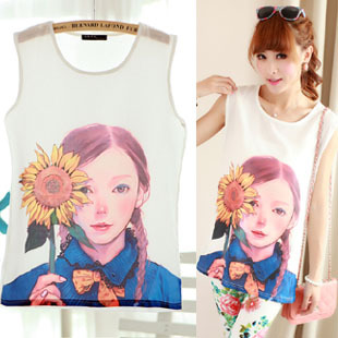 2013 female candy color all-match loose basic loose chiffon shirt sleeveless spaghetti strap vest plus size(China (Mainland))