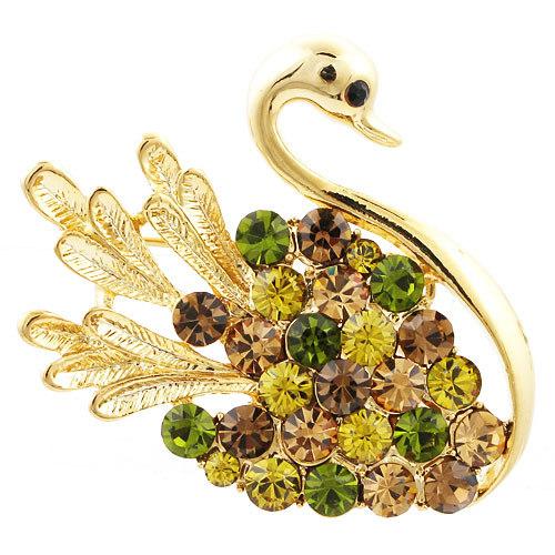 swan classic crystal brooch 14k gold plating costume accessories children's birthday gift NB-059 Beauty Paradise Rihood(China (Mainland))