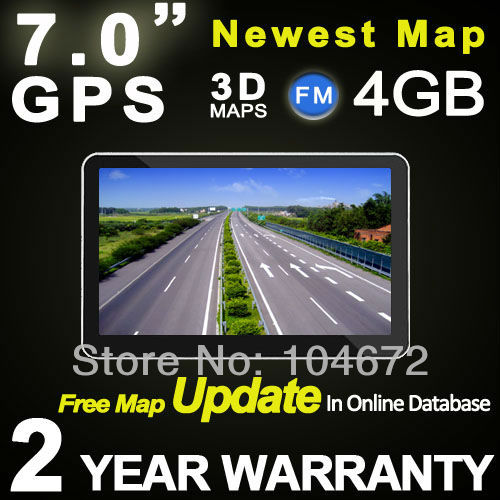Portable 7 inch 7.0 inch GPS Navigation Navi Navigator For Car Truck Bike DDR 128M RAM TTS POI MP3 4GB Free Map Update(China (Mainland))