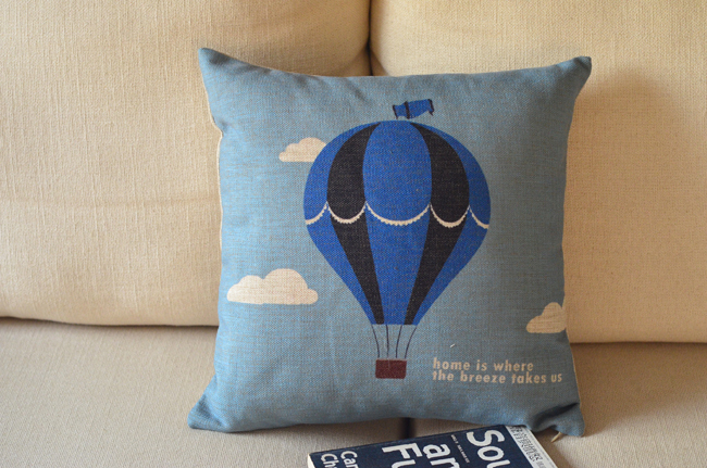 Wholesale! Blue balloon cartoon cotton pillow cover Cushion Cover sofa cushion,Free Shipping!(China (Mainland))