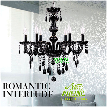 Contemporary Crystal Black Candle Chandelier Light With 6 Glass Arms MD8816