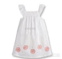 Big Promotion 5pcs/lot (3-8T) Wholesale OB Girls Kids Dresses White Brand Flower Pirnted Dress free shipping