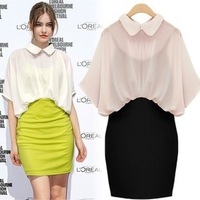 Free shipping 2013 peter pan collar batwing sleeve faux two piece chiffon dress one-piece slim a-line