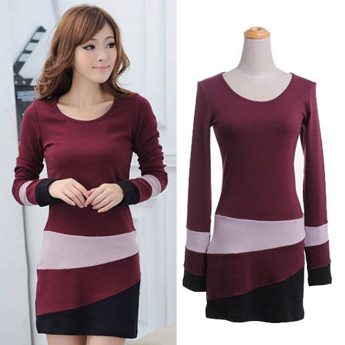 Fall 2013 Korean style women fashion splicing pattern color matching package buttocks nip-waisted couture dress bottoming shirt(China (Mainland))