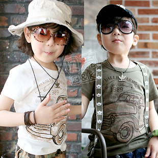 Retail 1 pcs 2013 summer wear big car boys girls clothing baby short-sleeve T-shirt kids tops children clothing CC0067(China (Mainland))