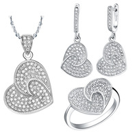 2014 18k gold plated jewelry set 18k accessories silver pendant ring earrings fashion set decoration heart crystal jewelry