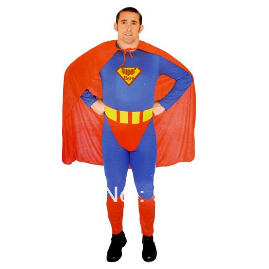 Halloween performance clothing accessories suit tights high-grade adult conjoined twin superman clothes custom red blue appeal(China (Mainland))