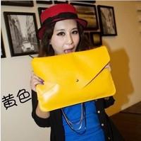 Free Shipping Retail 1 pc 2013 Fashion candy bags envelope bag messenger bag women's day clutch big handbags 12colors