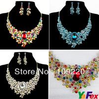 Free Shipping Bridal Bridesmaid Party Crystal Rhinestone Earring Necklace Jewelry Set WA239