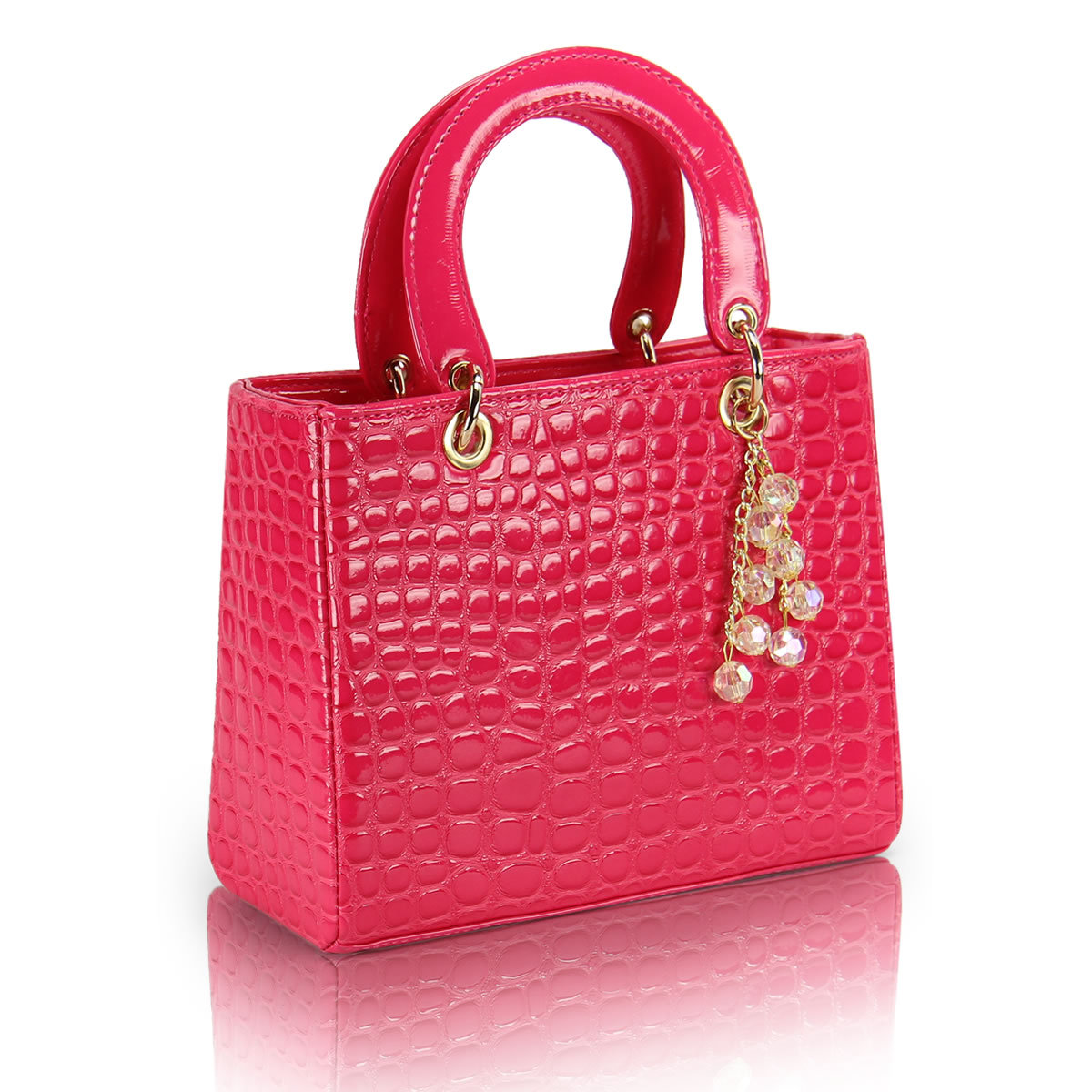 2013 spring women's handbag bag japanned leather shiny box plaid handbag small bag(China (Mainland))
