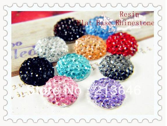 200pcs Random Mixed Round Shape Resin Rhinestones Flat Back Base Cabochon Beads Jewelry Findings(China (Mainland))